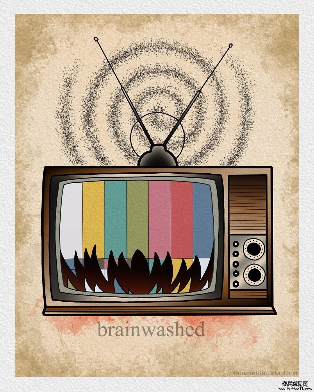 彩色school电视机纹身图案