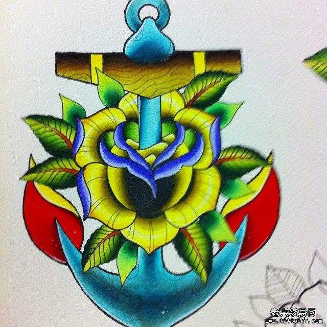 school彩色船锚纹身图案