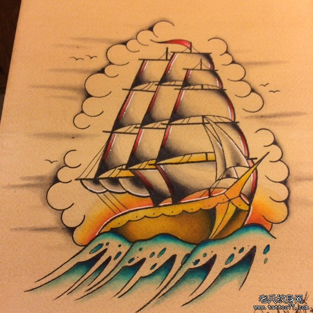 school彩色帆船纹身图案
