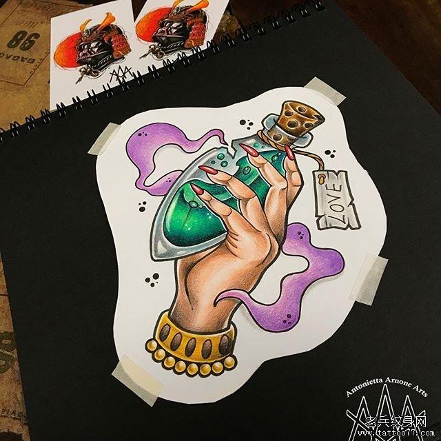 school手药水瓶纹身图案