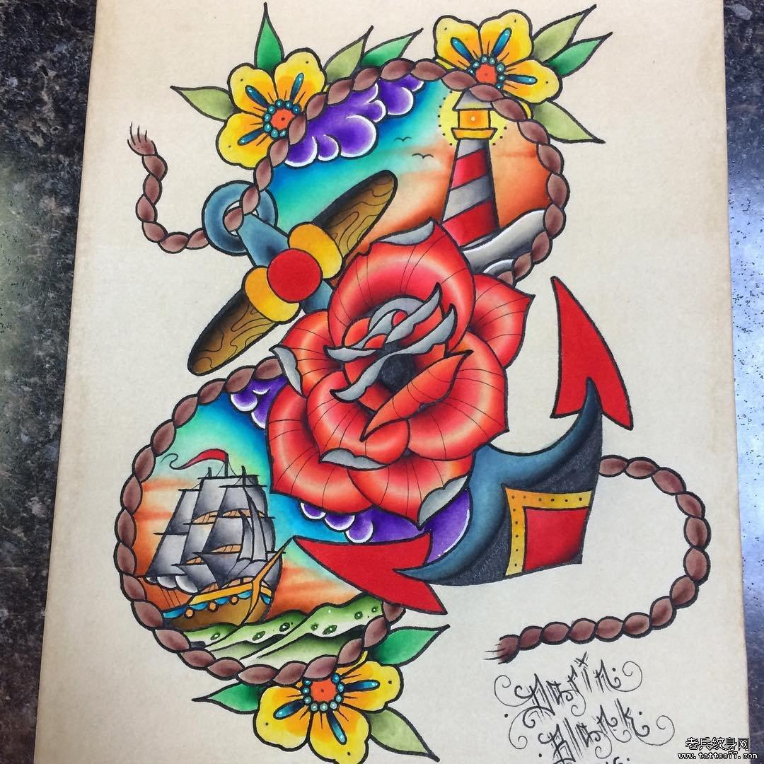 school彩色船锚玫瑰花纹身图案