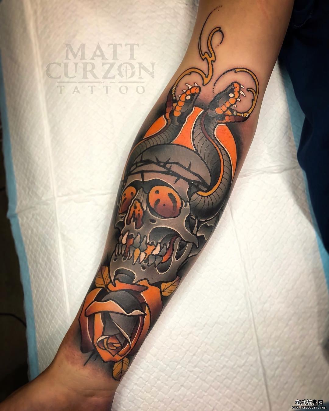 彩色school蛇骷髅纹身